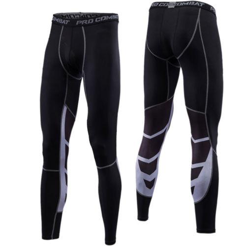 5f28c4e6e4d59 Tights Long Short 3/4 Pants Mens Compression Gym Under Base Layer Fitness  Black