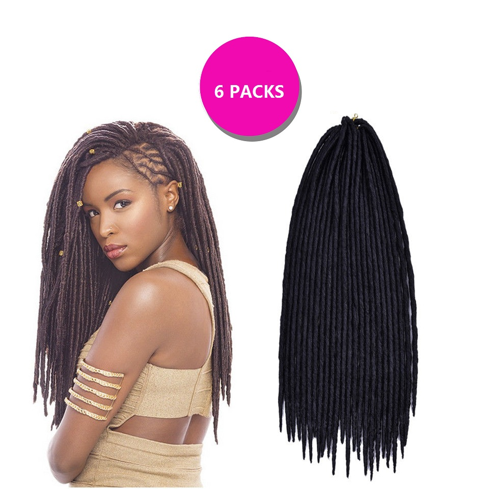 6 Pack Faux Locs 18 Synthetic Crochet Braid Dreadlocks Hair