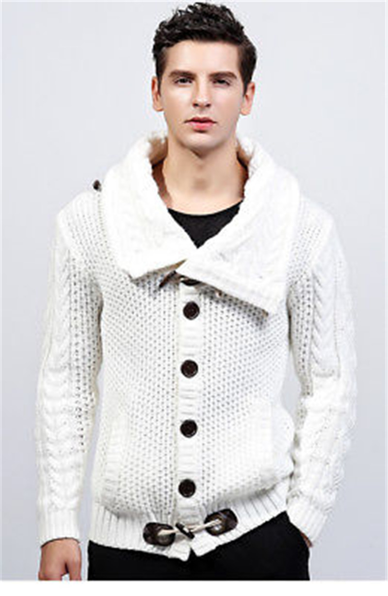 Autumn Winter High Collar Cardigan Sweater Men Jacket Boy Thick ...