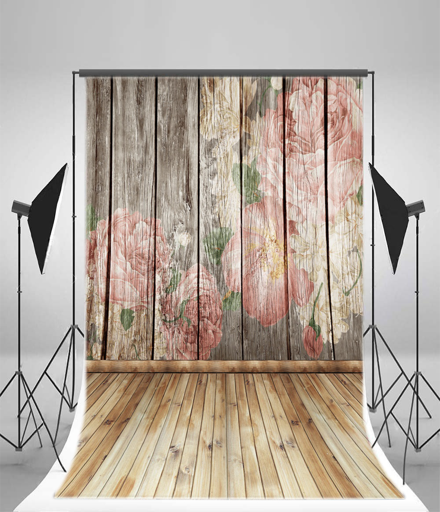 3x5ft flower wood wall vinyl background photography photo studio props - 3x5ft Vinyl Paint Flower Board Backdrop Photography Studio Props Background