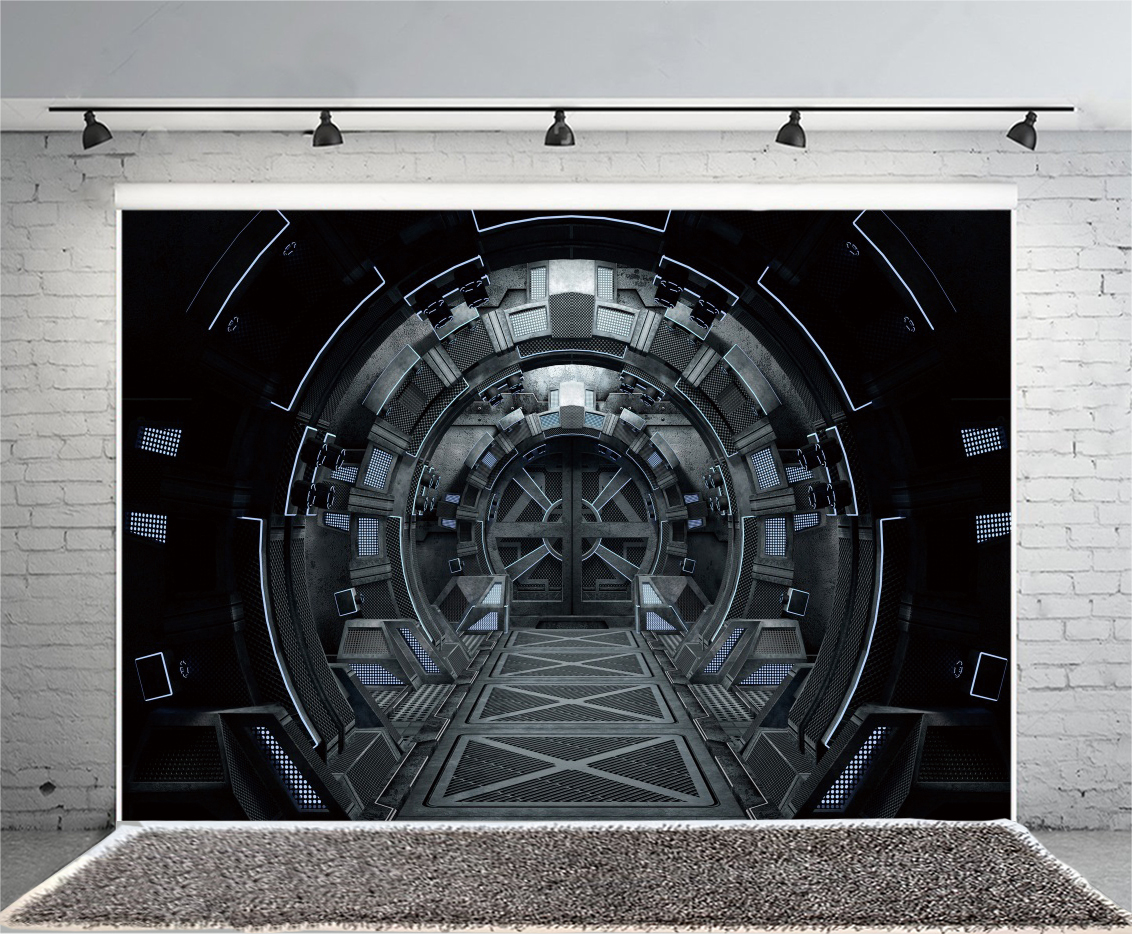 Image Is Loading 9x6ft Spaceship Interior  Background Spacecraft Aisle Sci Fi