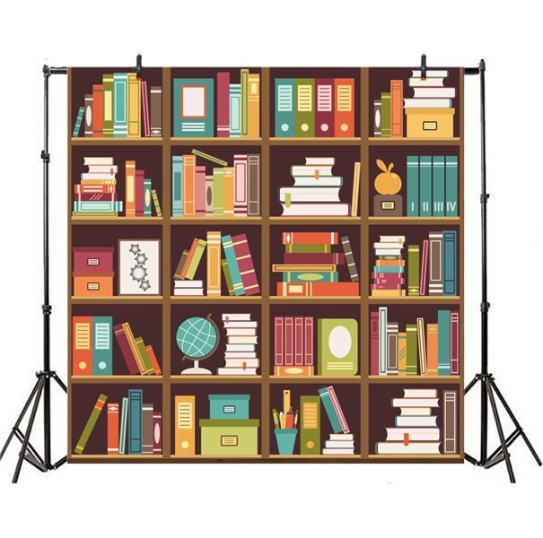 Cartoon Bookshelf Bookcase Backdrop Portrait Photo Studio Background Cloth 8x8ft