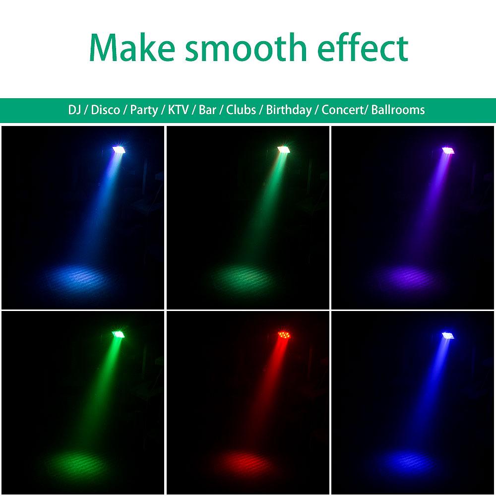 Details about U`King 2PCS 17W Stage Lighting RGB 17LED Par Remote Weeding  DJ Party Show Light