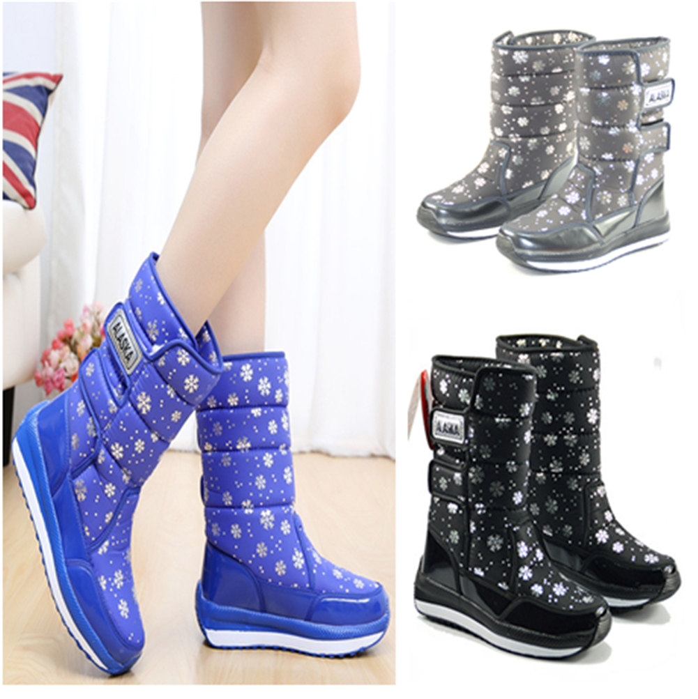 e0fbf57ece4f4c Details about Womens Waterproof Winter Snow Boots Outdoor Warm Shoes Fur  Lined Mid-Calf Boots