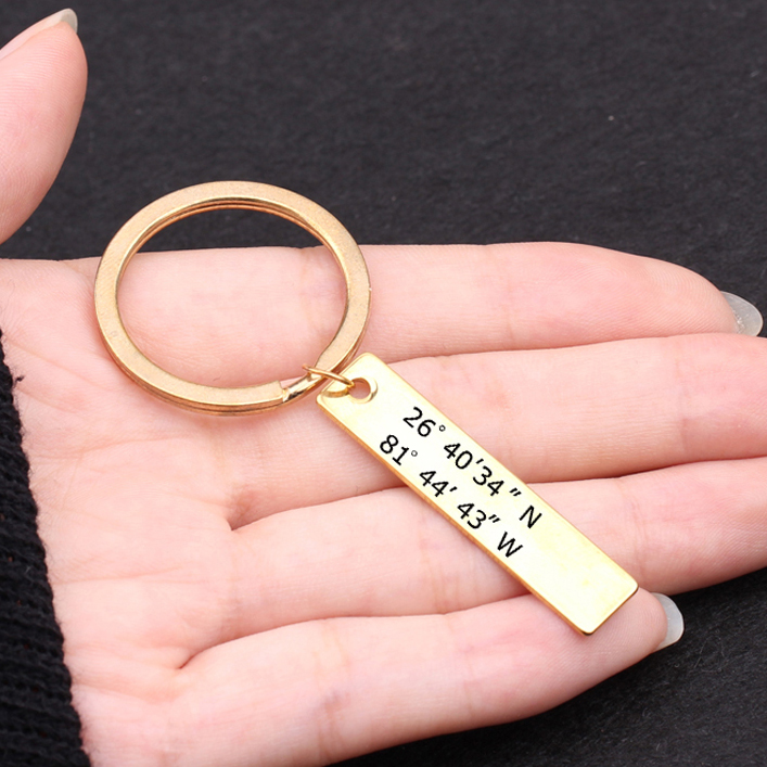 cd0374f75a013 Details about GPS Coordinate Keychain Custom Latitude and Longitude Keyring  Bag Charm