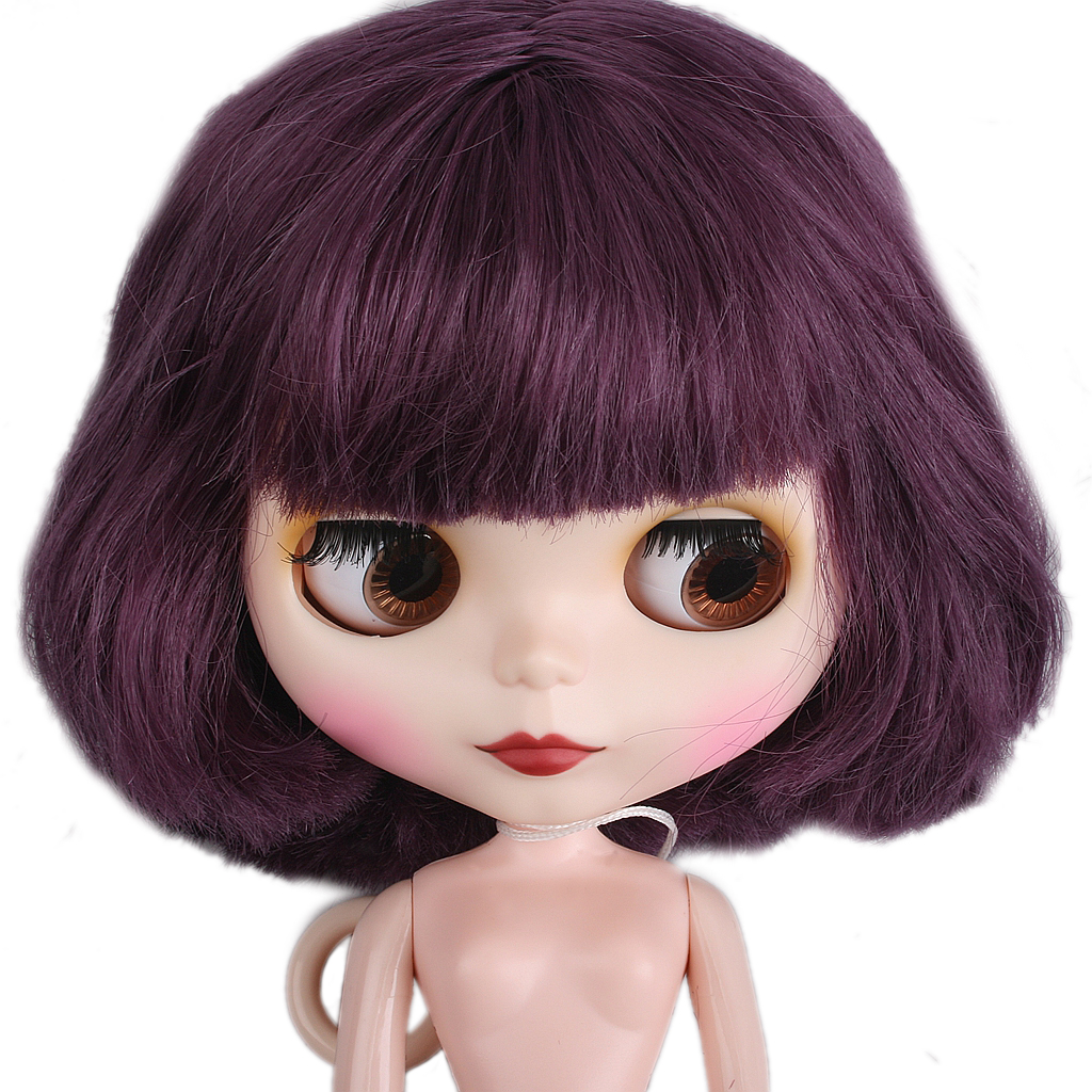 "For 12/"" Neo Blythe//Takara Doll 7 Joints Purple Short Wig ~ Matte Face PF"