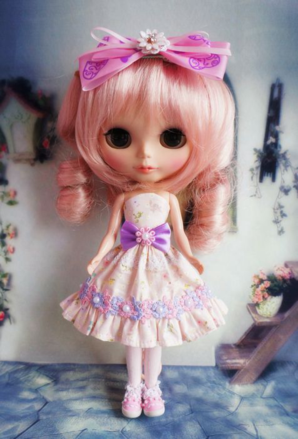 PF 92# Cute Handmade Blythe Doll Costume With Zipper Dress Azone Lolita Blue