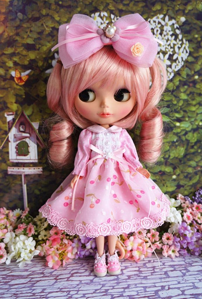 92# 89#beautiful Handmade Lolita Pink Rabbit Dress For Takara Blythe Pullip PF
