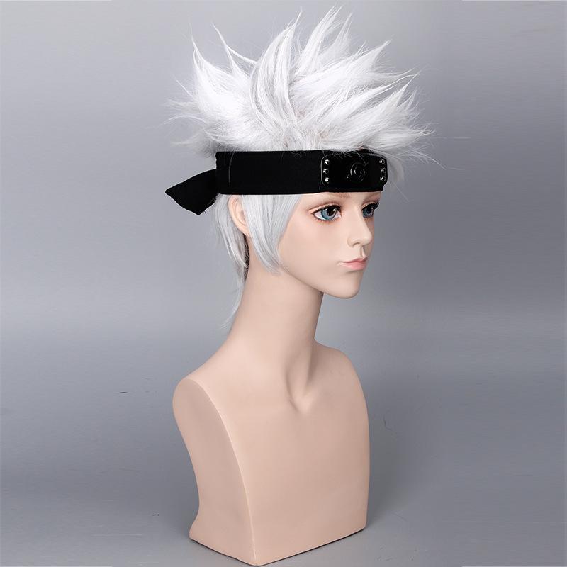 Anime Naruto Kakashi Wig Short Silver Hair Halloween Cosplay Costumes Hairpiece