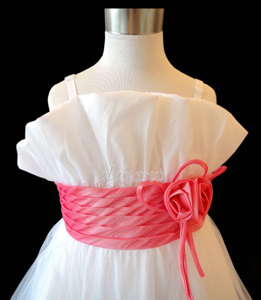 White Hot Pink Pageant Children Kids Wedding Flower Girls Dress Gown