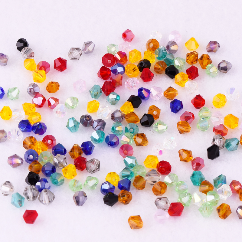 300pcs Mixed Color Round Glass Beads 4mm Jewelry Bracelet Finding Craft Makings