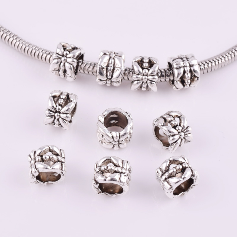 20//40pcs Tibetan Silver Flower Big Hole Spacer Beads DIY Jewelry Findings 6X8mm