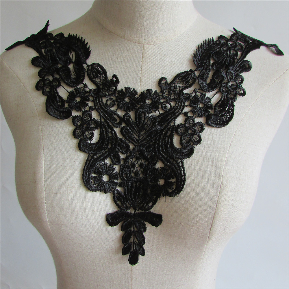 Black vintage venise floral collar lace trim patch for Applique vintage