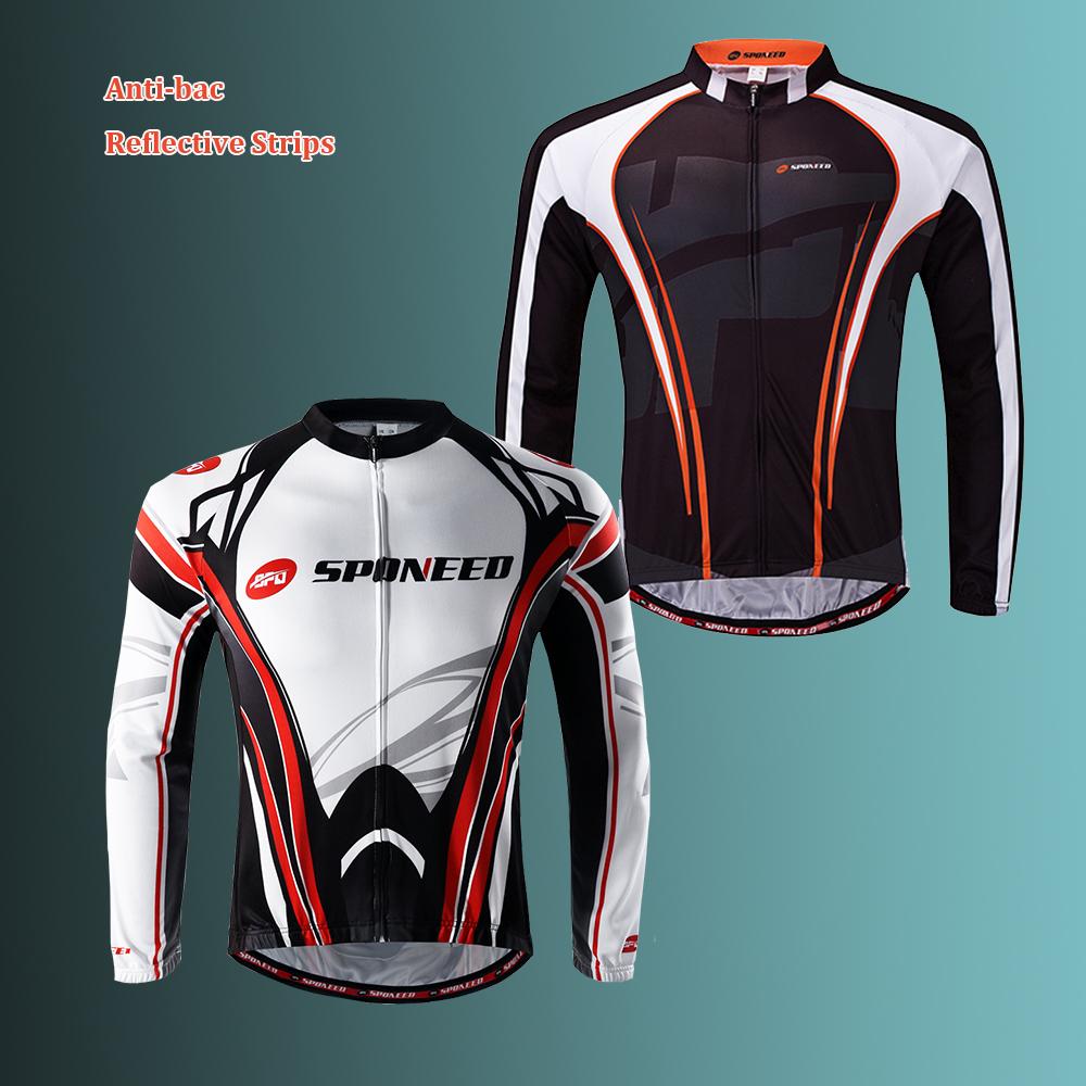 Cycling Jersey Men/'s Long Sleeve Bike Reflective Full Zip Bicycle Shirts M-3XL