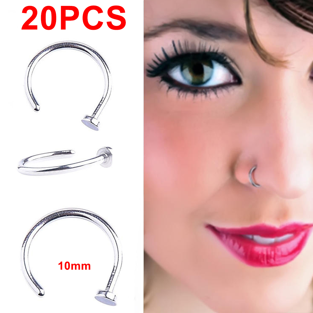 Details About Pack 20 Punk Clip On Fake Nose Open Hoop Ring Lip Earring Navel Ring Piercing Us