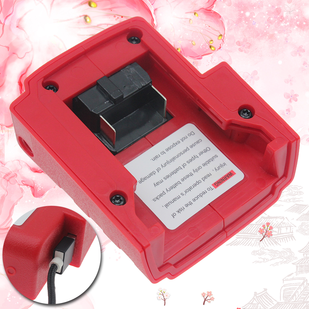 USB Charger Adapter DC 12V Power Source for Milwaukee 49-24-2371 M18 New Battery