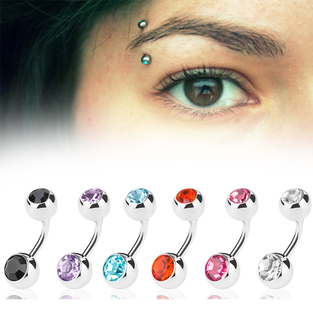 Details About 16g Gauge 12pcs Eyebrow Piercing Rings Bar Tragus Curved Barbell Lot