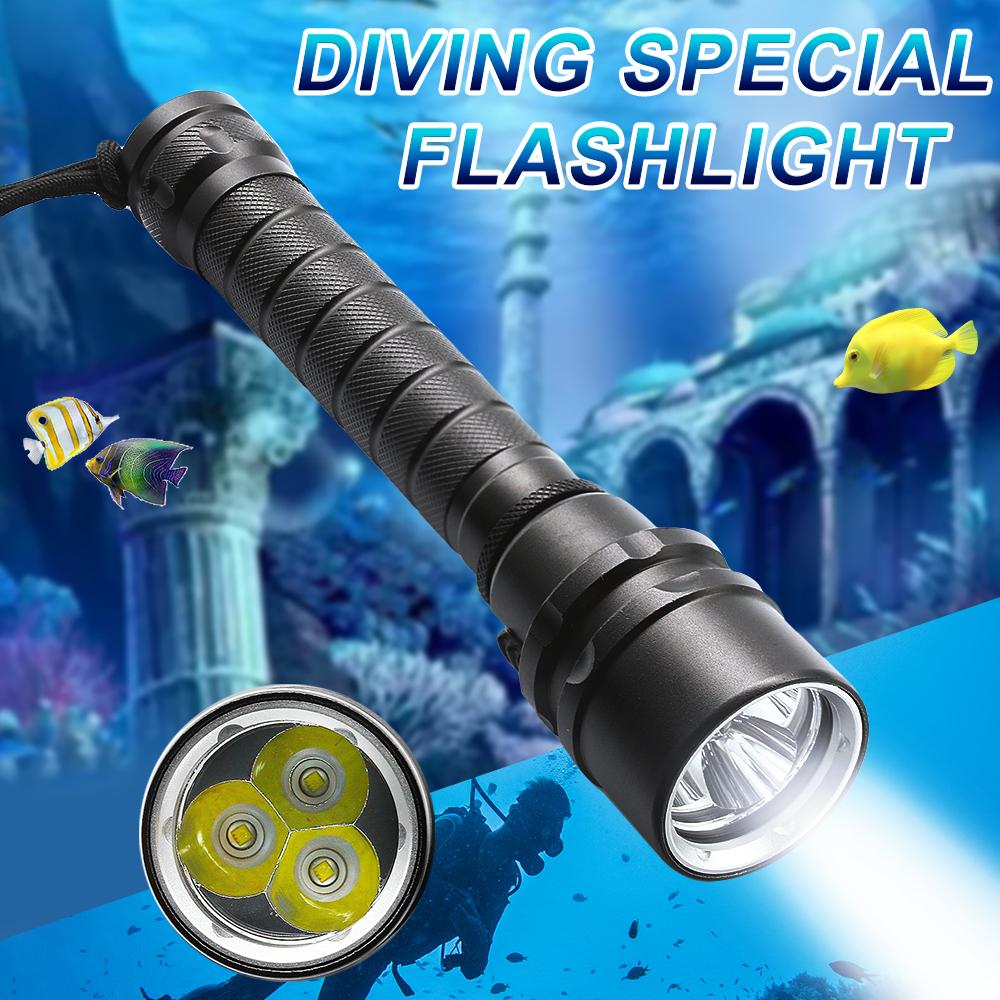 6000LM Diving Flashlight Waterproof Scuba Torch Snorkeling Lamp Underwater 100m