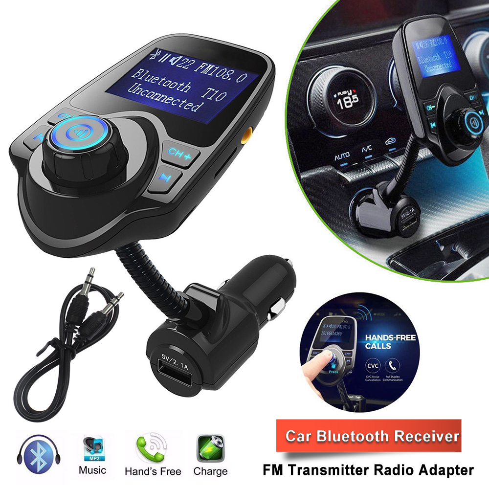 USB Charger Car Wireless FM Transmitter Audio Stereo Adapter Output 3.5mm AUX