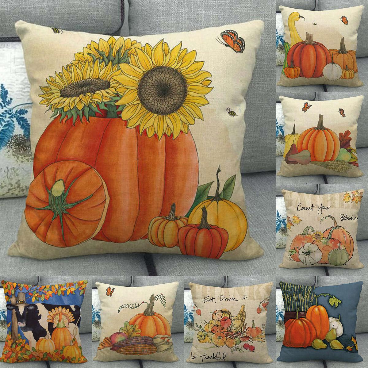 """18x18/"""" Pumpkin Patch Throw Pillow Case Autumn Farmhouse Decorative Cushion Cover"""
