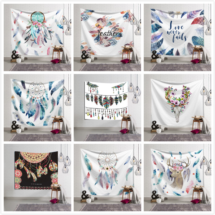 Tapestry Dream Catcher Wall Hanging Polyester Fabric Boho Feather Beach Towel
