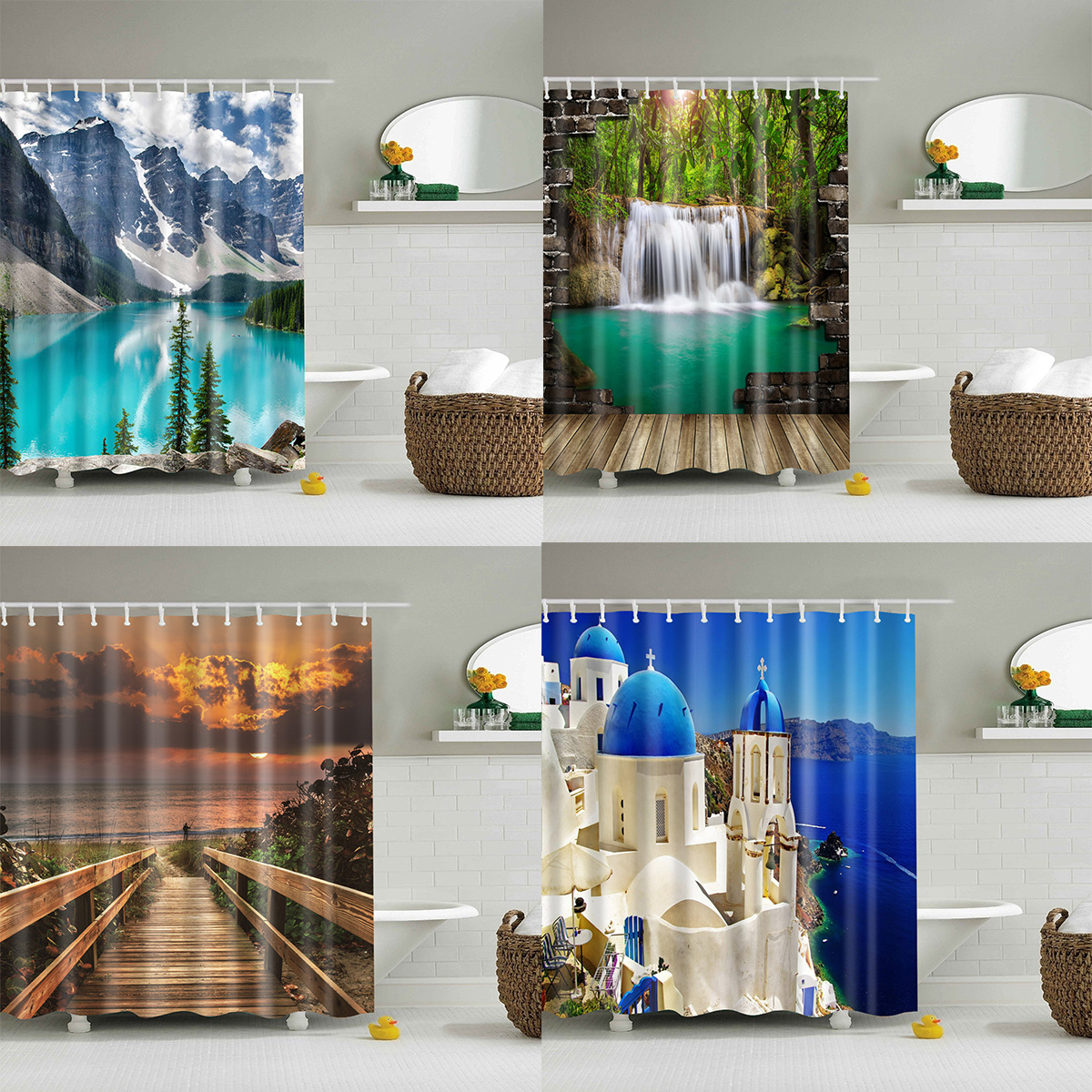 Bamboo Forest Waterfall 3D Shower Curtain Polyester Bathroom Decor  Waterproof