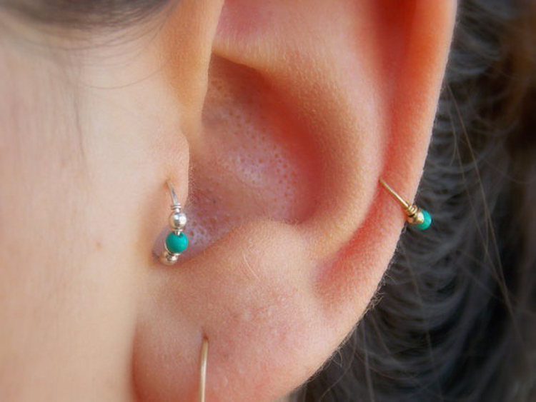 Turquoise Winding Nose Nail Ear Nose Lip Nail Body Piercing Jewelry ...