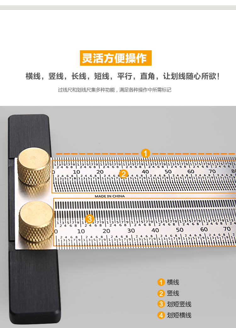 Scale Hole Carpenter Square Ruler Stainless WoodworkingMark Gauge T-type Ruler
