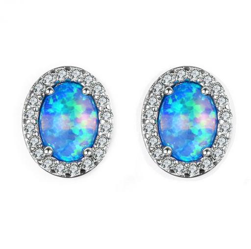 1 Paire Femme Fashion 925 Silver Jewelry blue fire opal Charme Boucle d/'oreille Pendentif ! ! !