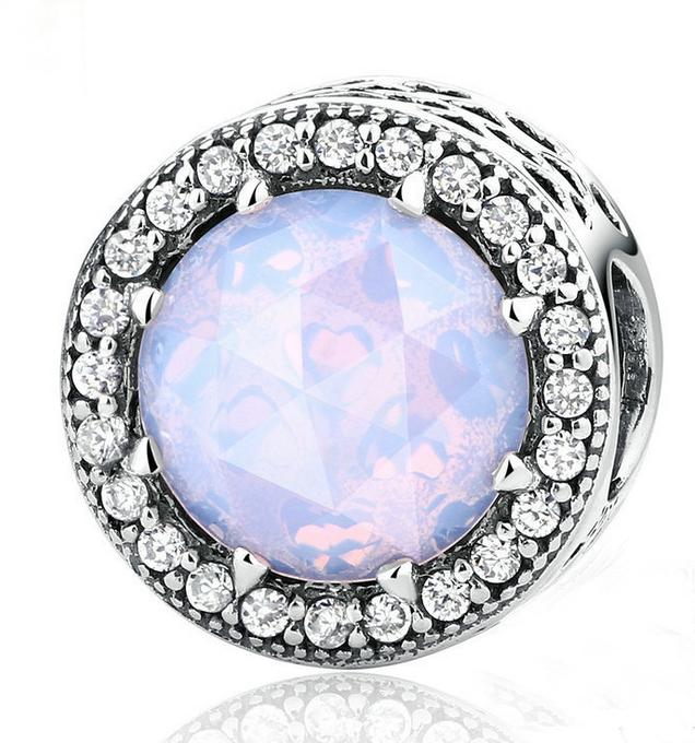 50 DIY Silver European CZ Charm Pink Crystal Spacer Beads Fit Necklace Bracelet