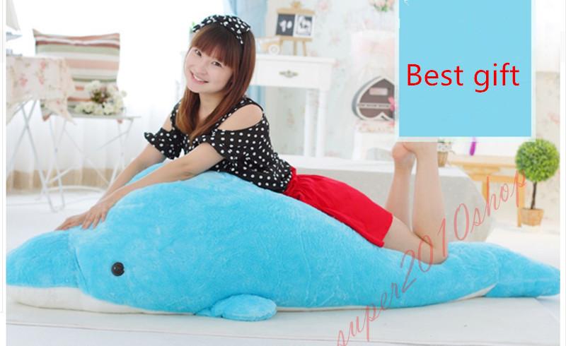 Giant Huge Dolphin Stuffed Animal Plush Soft Toy Pillow Bolster Sofa doll Gift