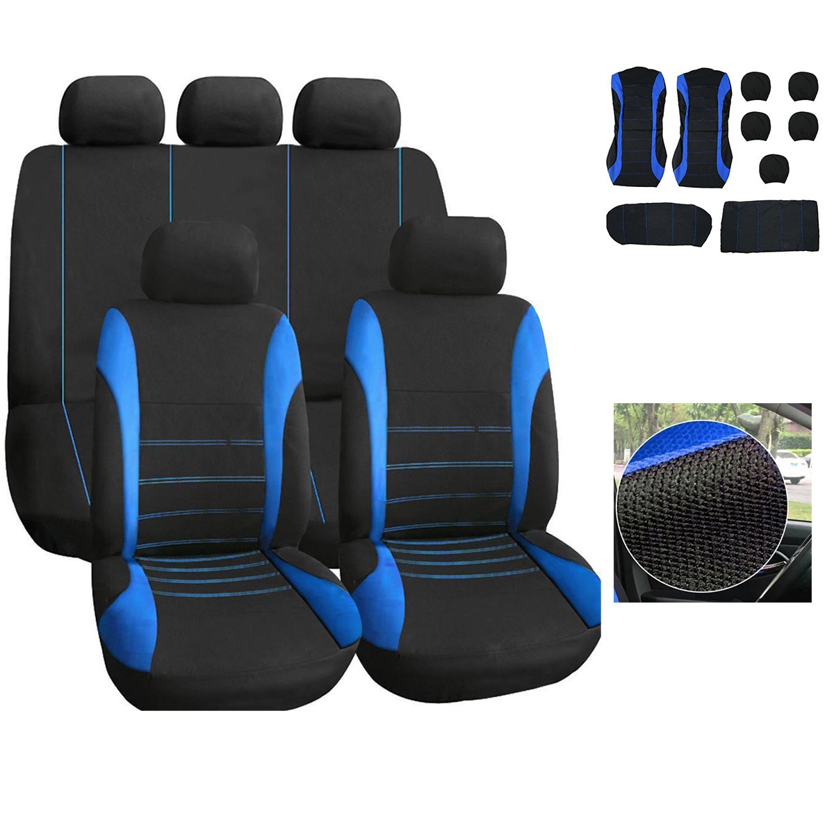 Phenomenal Details About 10 Pcs Car Seat Covers Black Blue Universal Full Set Front Rear Cushion Protect Uwap Interior Chair Design Uwaporg