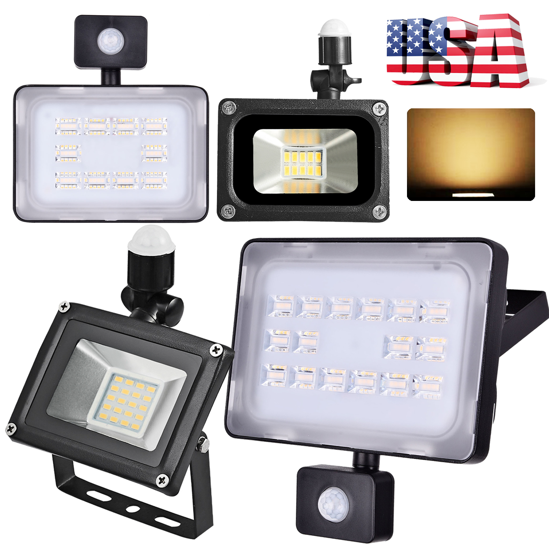 2X 30W LED Flood Light Warm White PIR Motion Sensor Outdoor Security Spotlight