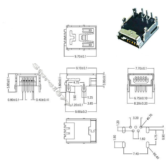 10pcs mini usb smd 5pin    dip 5pin female mini b socket connector plug s752