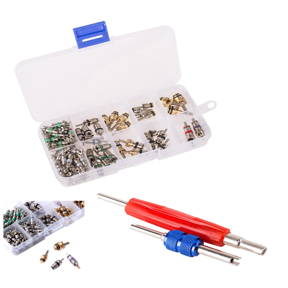102Pcs R12 R134A A//C Valve Core Valves Auto Air Conditioning Remover Tool Kit