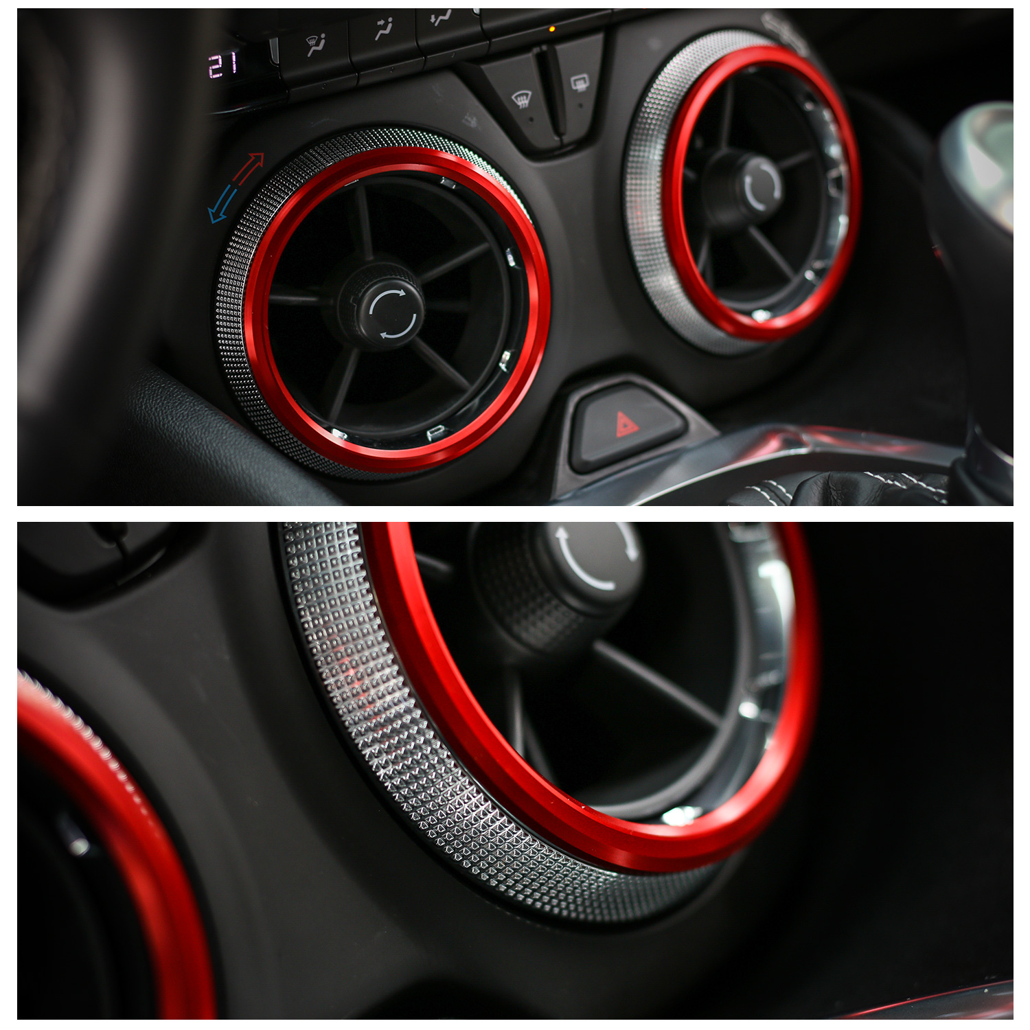Red Interior Air Vent Outlet Ring Cover Trim 4PCS for Chevrolet Camaro 2017-2018