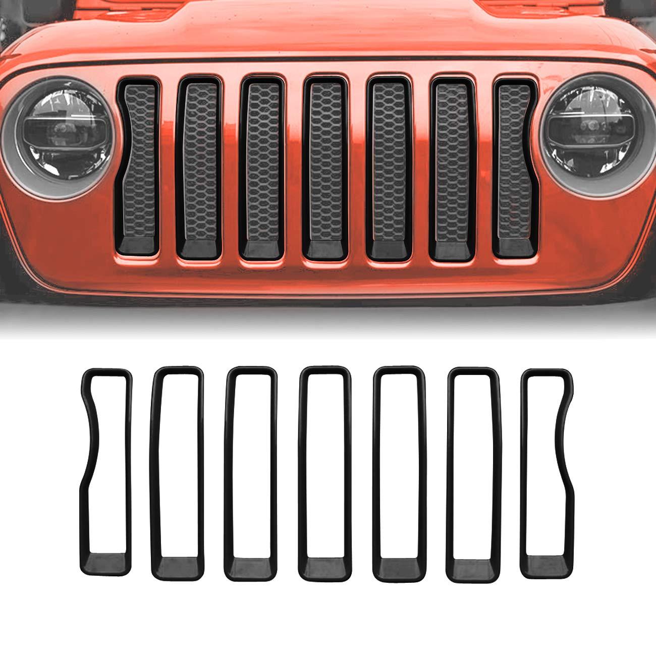 Pack of 2 JeCar Matt Black Headlight Covers Trim for 2018 Jeep Wrangler JL Sport//Sport S