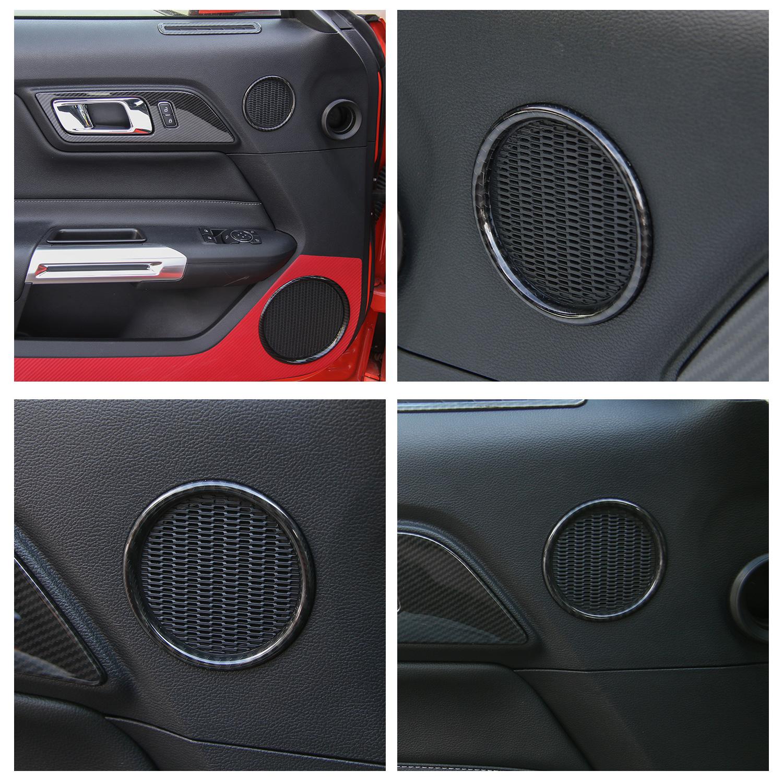 Carbon Fiber Interior Door Audio Speaker Decor Ring Trim for Ford Mustang 15-17