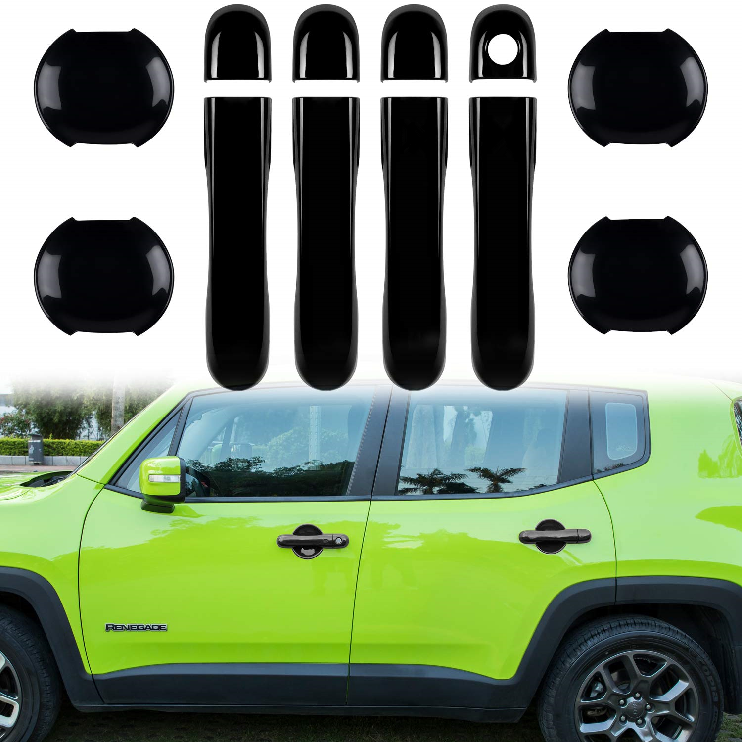 For Jeep Renegade 2016 2017 Car Interior 4 Door Handle Cover Trim Chrome