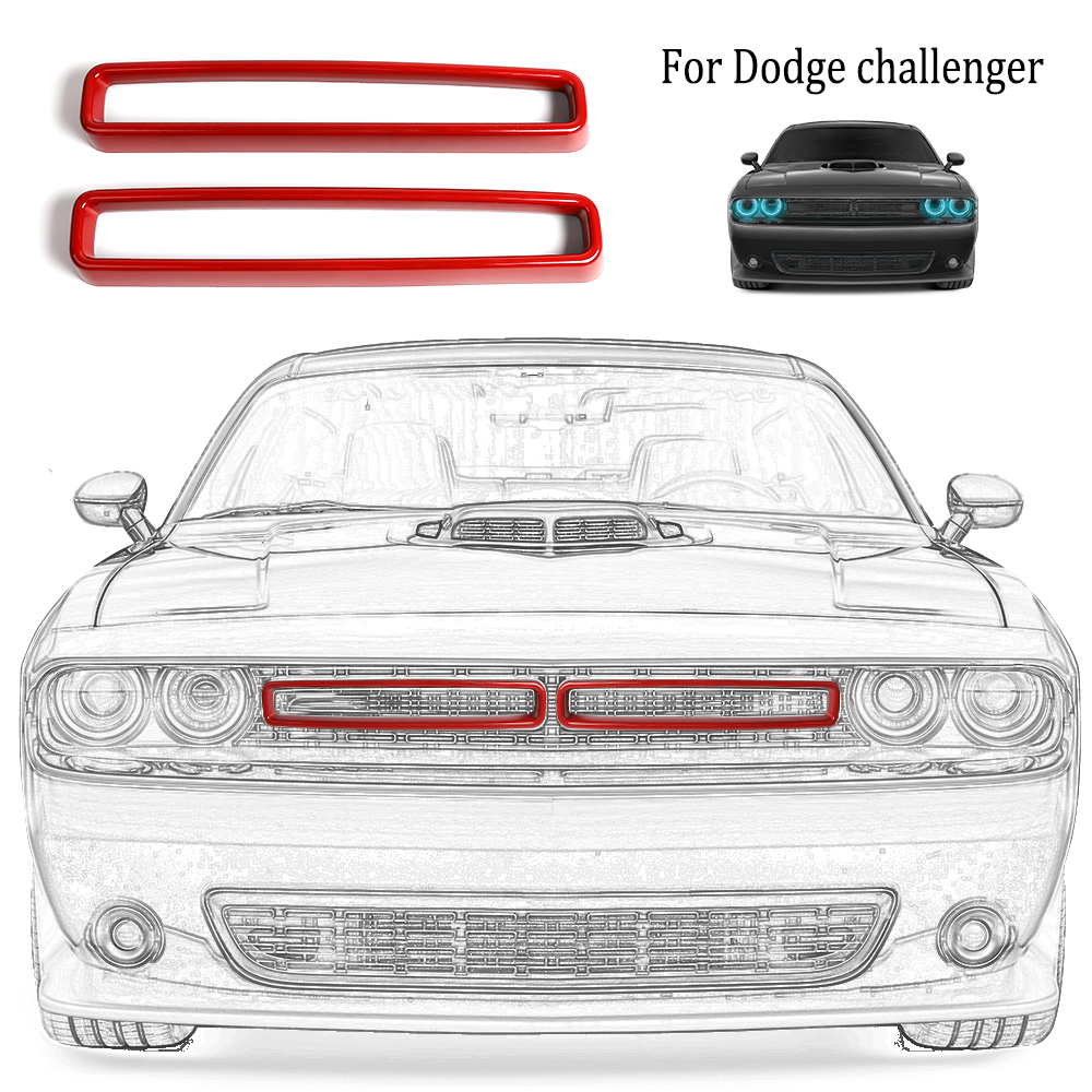 Red JeCar Grille Inserts ABS Grill Cover Trim Kit Exterior ...
