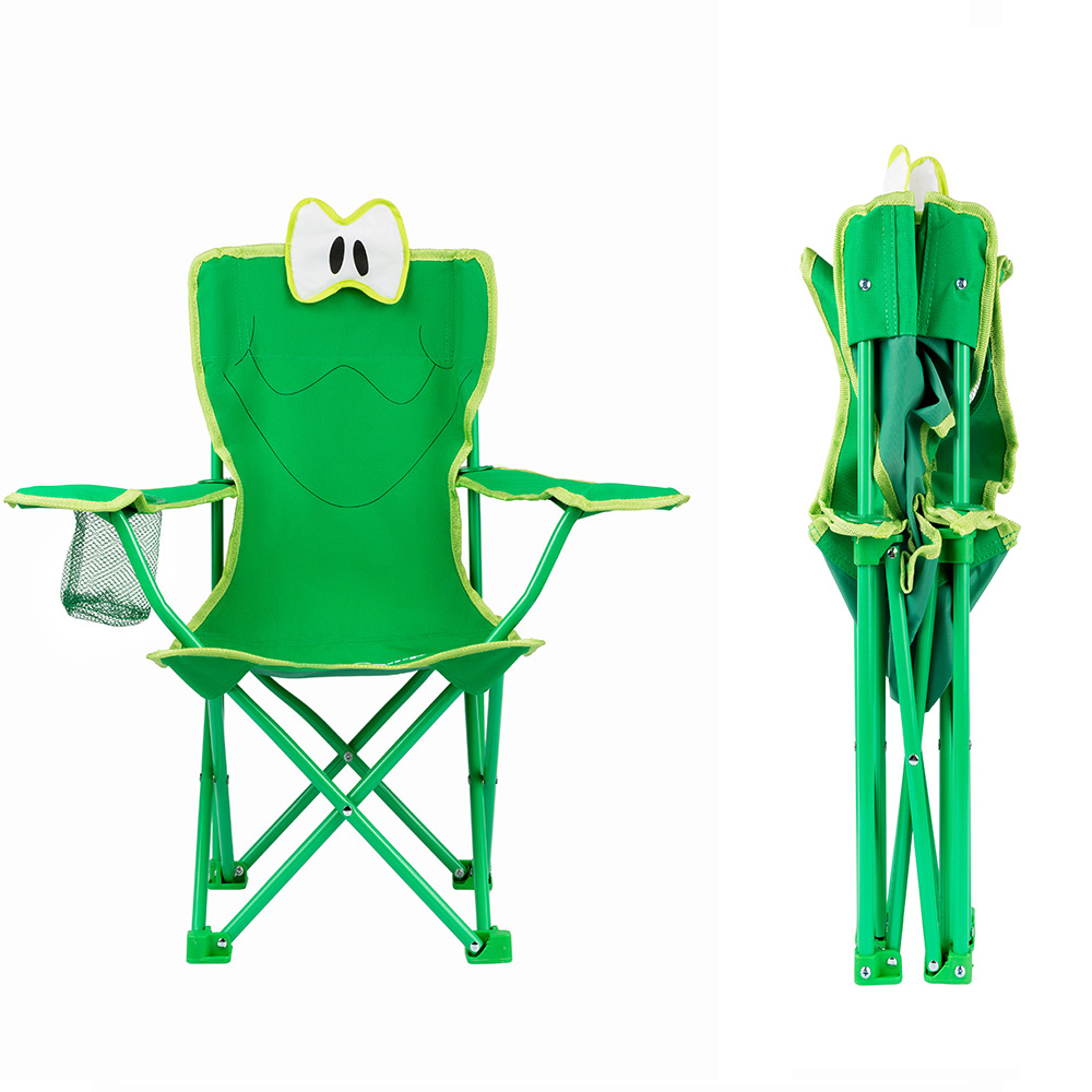 Camping Kids Cartoon Frog Chair Armrest Portable Folding Children Outdoor  Chair