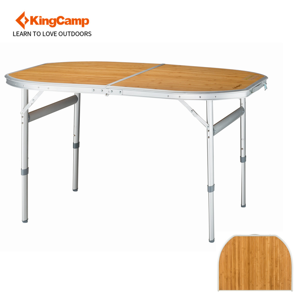 KingCamp Bamboo Folding Table with Carry Bag 4 Fold Heavy Duty Adjustable Height Aluminum Frame Camping Table