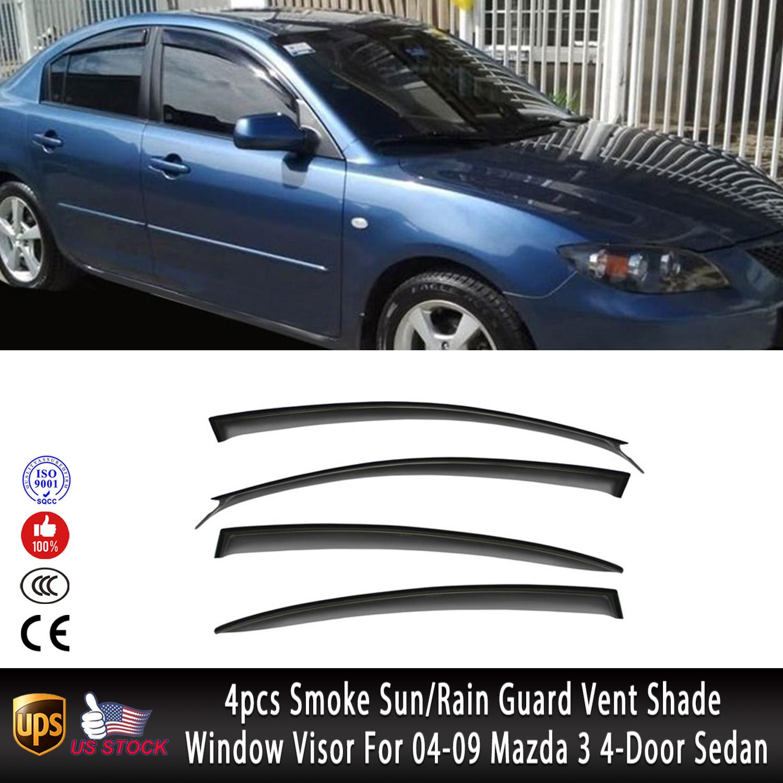 4pcs Smoke Sun//Rain Guard Vent Shade Window Visor Fit 04-09 Mazda 3 4-Door Sedan