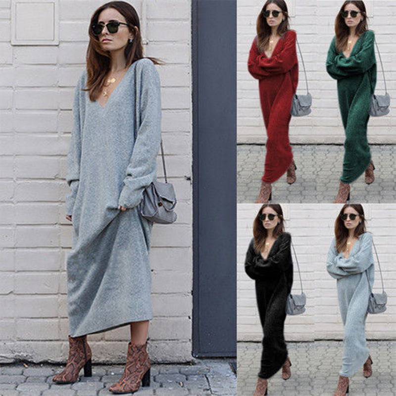 dd440ba3fbc Details about Womens Warm Loose Knitted Sweater Maxi Dress Pullover Ladies  Long Jumper Dress