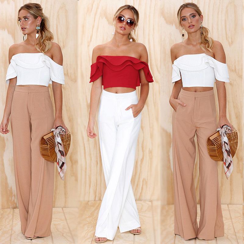 bbaad45e3c7b4d UK Women Summer Fashion Bardot Shirt Ladies Strapless Blouse Ruffle Frill  Tops