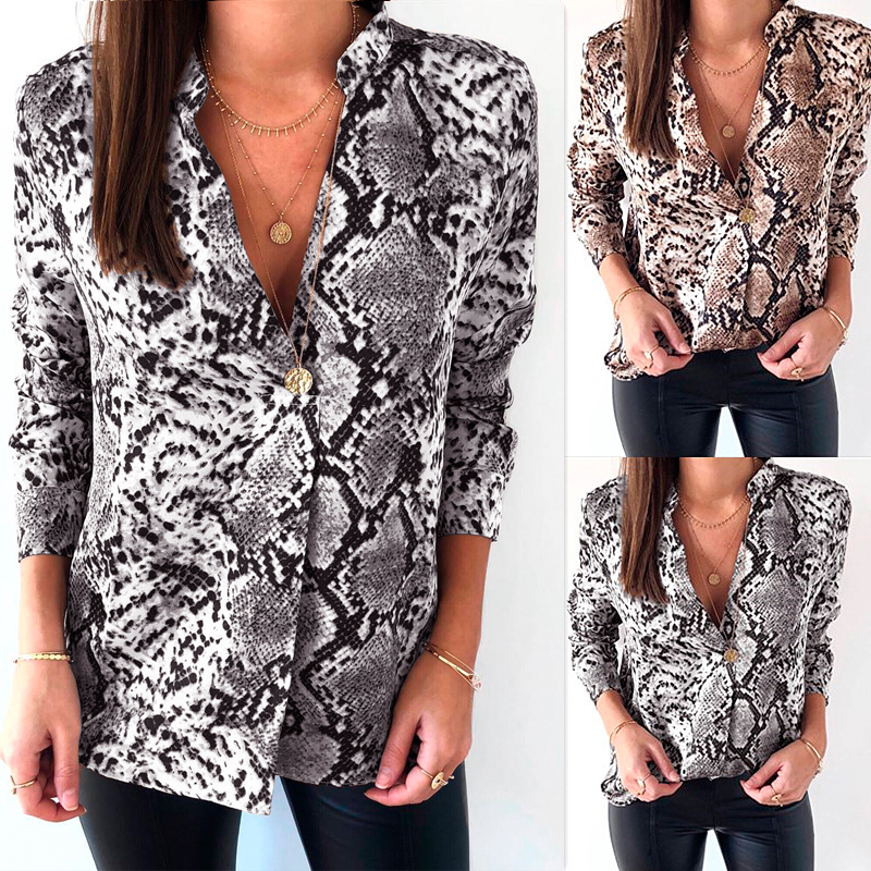 4ce50ac54be4 Details about UK Womens Snake Skin Print Shirt Tee Top Long Sleeve V Neck  Dowm Blouse Fashion