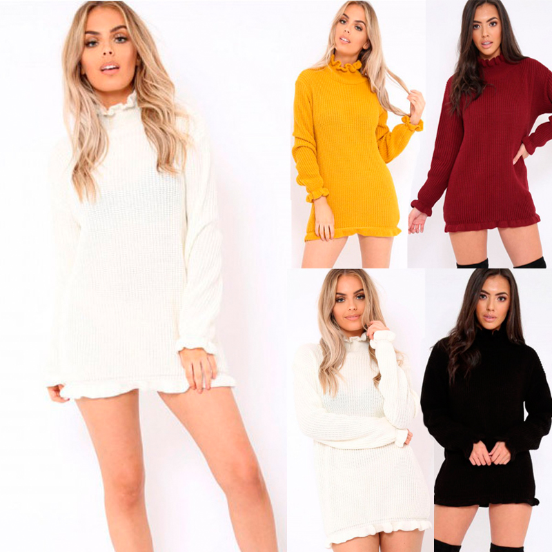 c61a5d82e07 Womens Bodycon High Neck Jumper Dress Ladies Autumn Long Sleeve Knitted  Dresses
