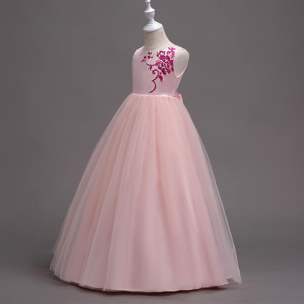 Girls Flower Princess Long Dress Kid Party Pageant Wedding Prom ...