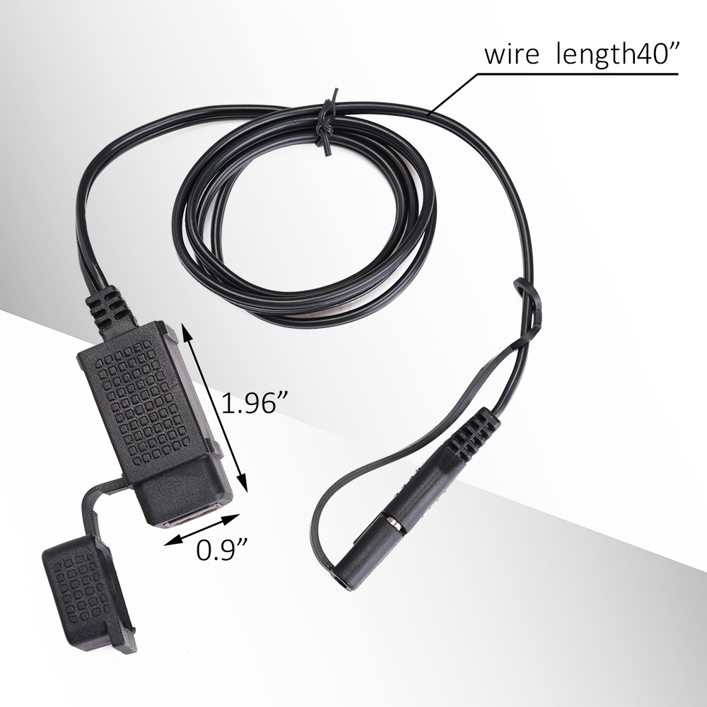 3.1A Motorcycle SAE Cable Double USB Charger Adapter Waterproof ...