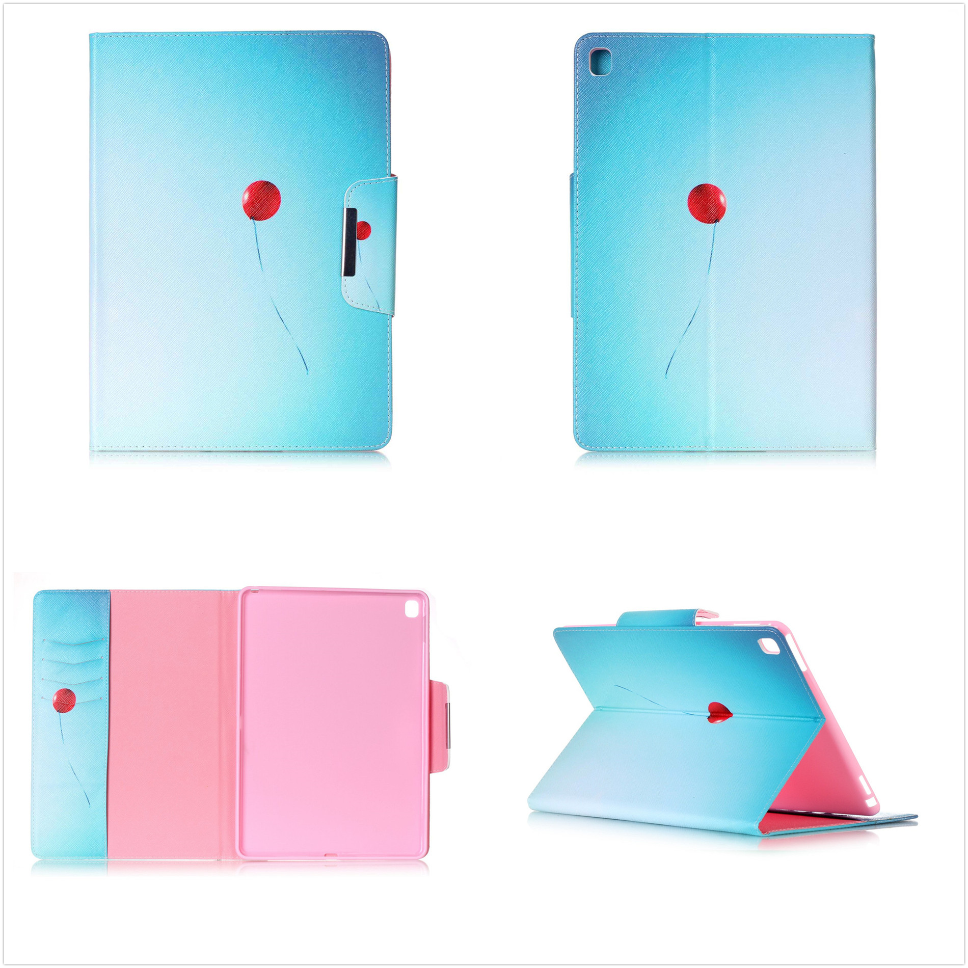 blue ballon wallet pu leather magnetic book stand case cover for
